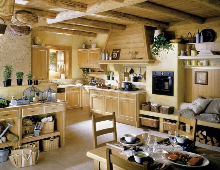 Стиль Кантри в интерьере кухни под дерево