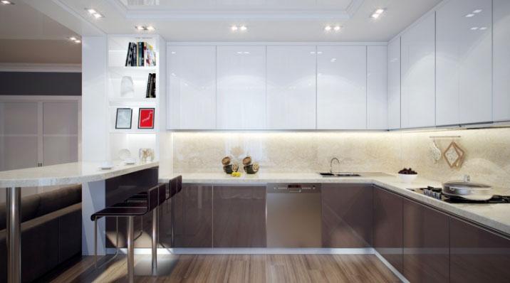 Белая кухня глянец в интерьере фото