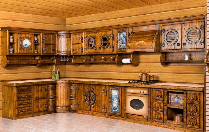 дизайнерская кухня из натурального дерева