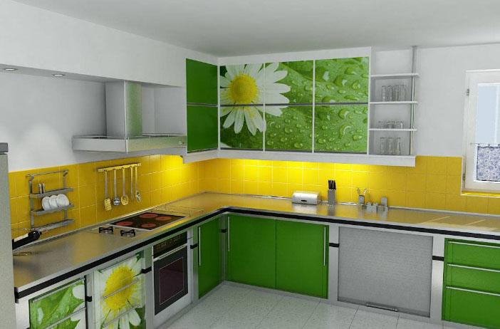 желтая стенка на салатовой кухне
