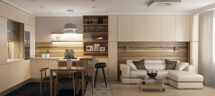 совмещение зала с кухней