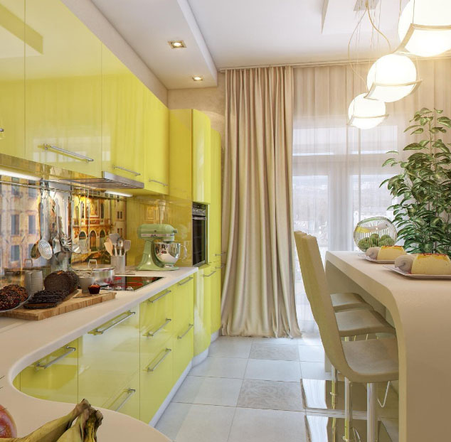 красивая узкая кухня