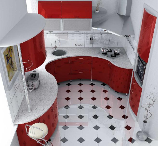 маленькая красно-белая кухня