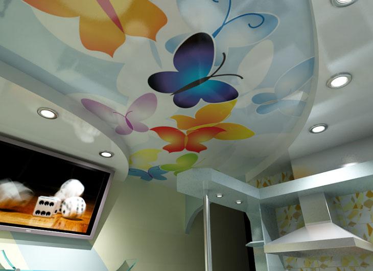 оригинальный дизайн потолка на кухне