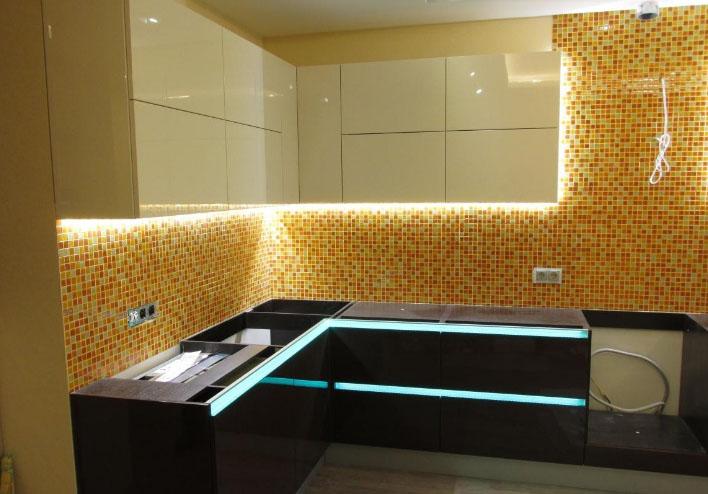 подсветка кухонного гарнитура светодиодной лентой