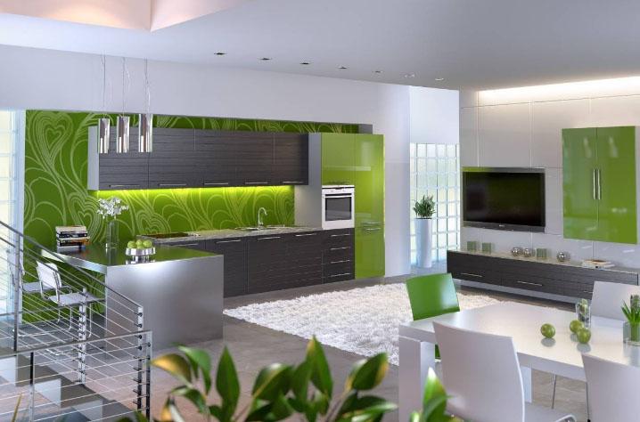 салатово-белая кухня