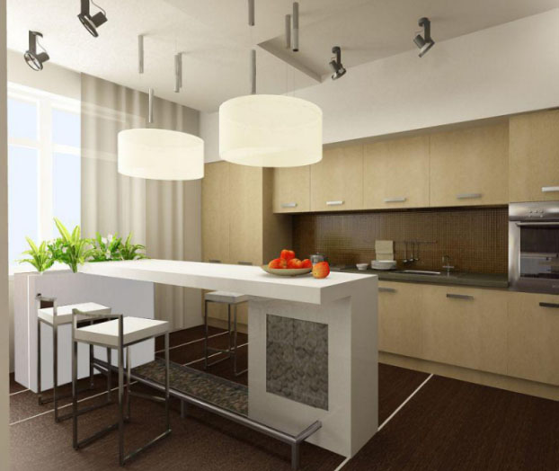 Барная стойка на кухне в современном стиле