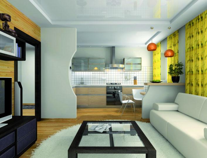 Комната-студия объединенная с кухней