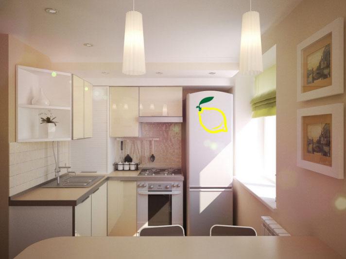 Красивый интерьер малогабаритной кухни