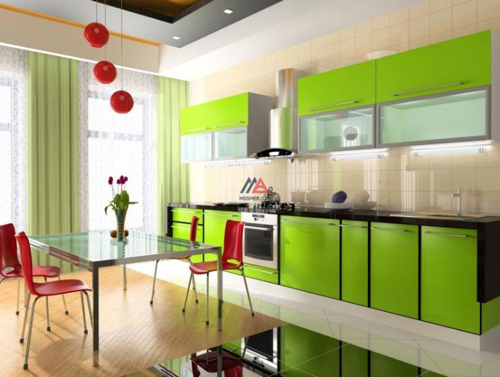 Кухня в оттенках зеленого цвета со шторами