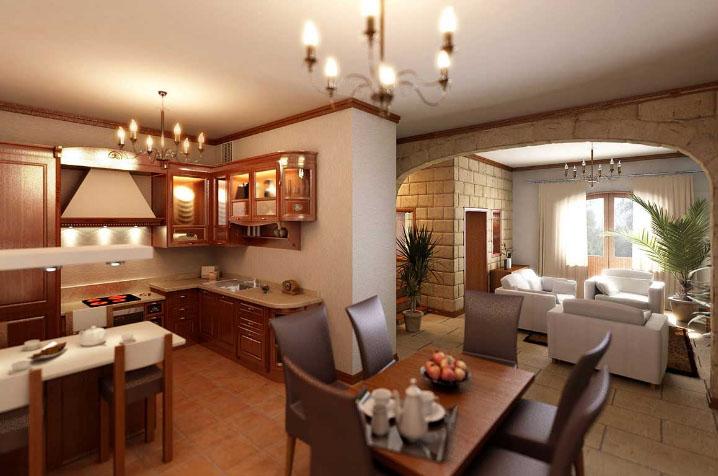 комната-студия с деревянной кухней