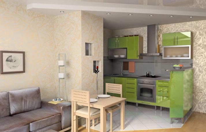 комната-студия с уютной кухней