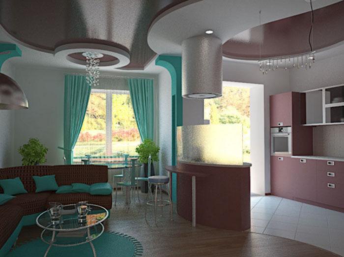 красивая комната-студия с кухней