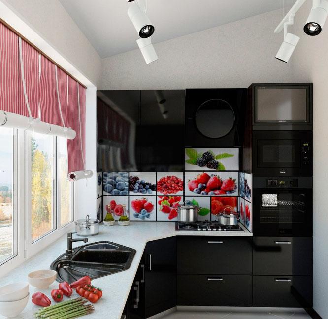 красивая кухня на балконе