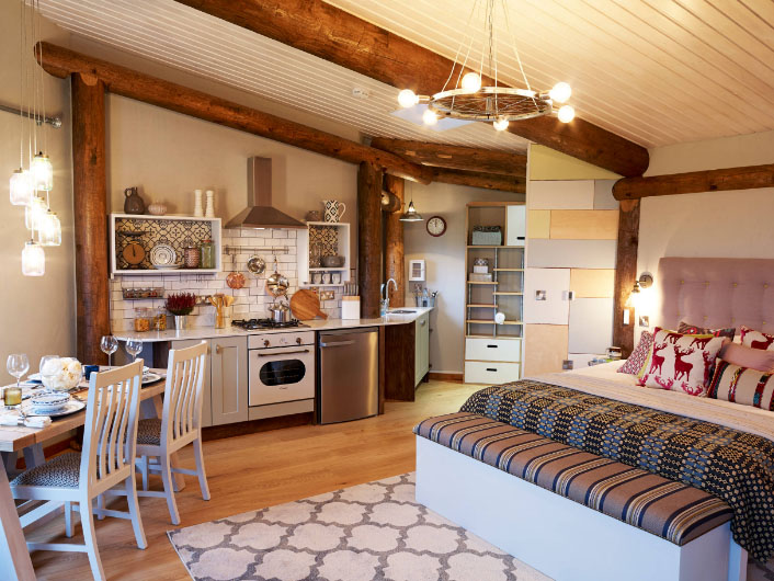 красивая кухня со спальней