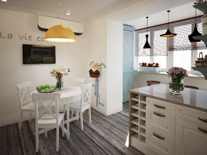 кухня с балконом в одном стиле