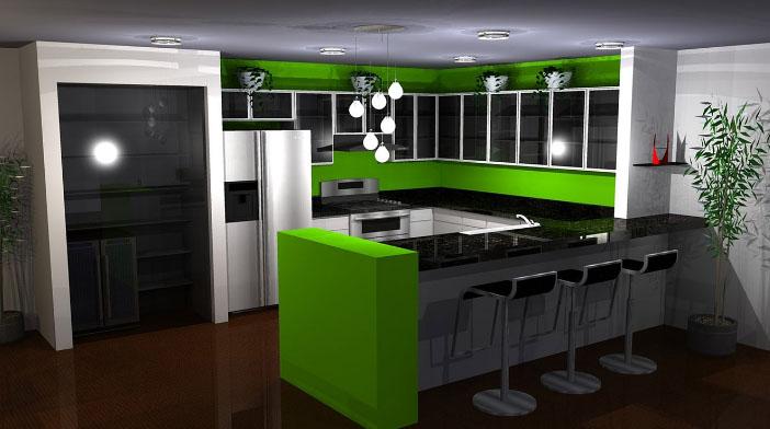 кухня с зеленым цветом
