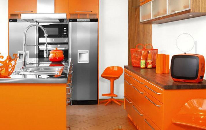 оранжевый стиль кухни