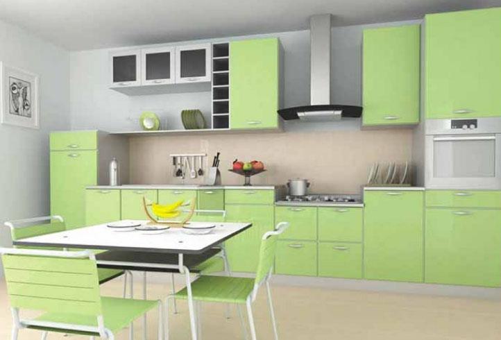 современная кухня в оттенках зеленого цвета
