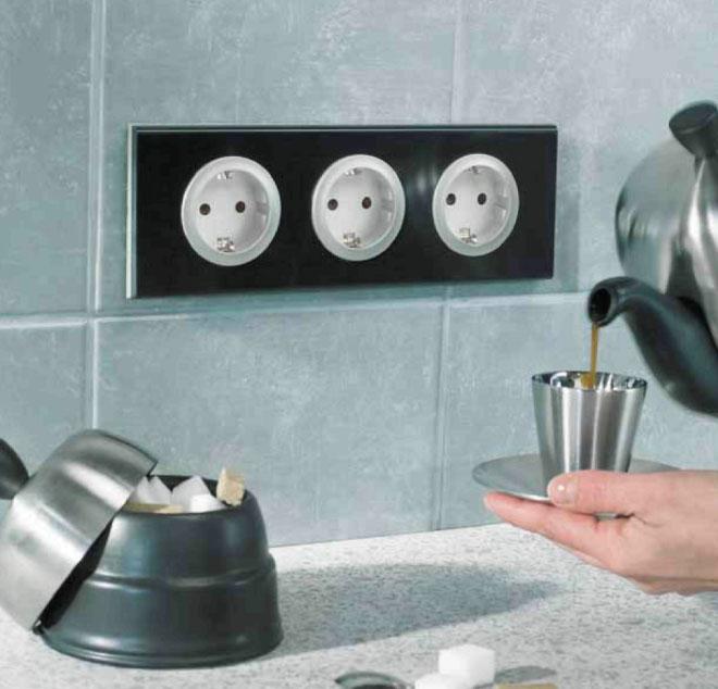 стандартные розетки на кухне