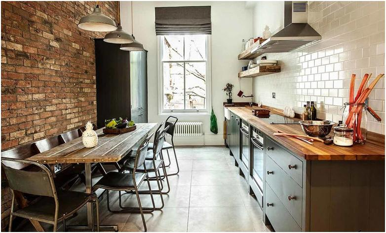Кирпич в интерьере стильной кухни: 75 фото-идей