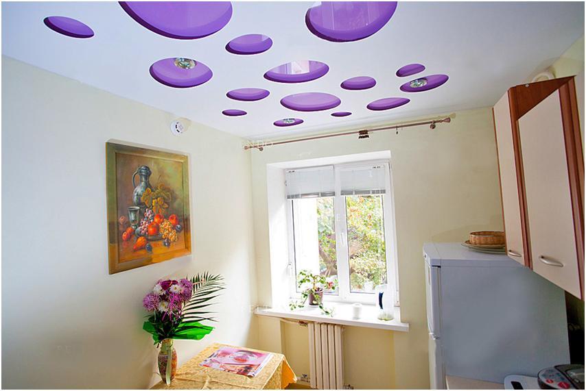 Натяжной потолок на кухне: фото 100 идей