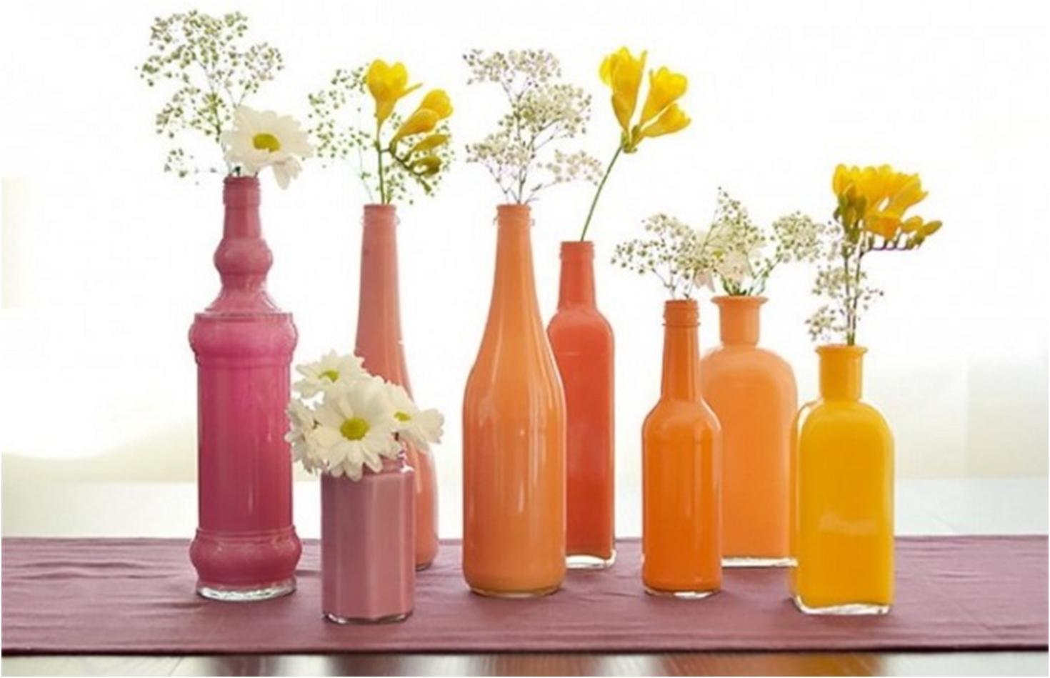 Оригинальные вазы своими руками из стеклянных бутылок