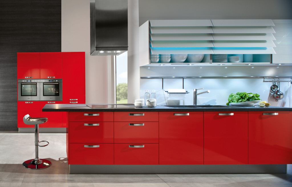 Artistic-Red-Kitchens-With-Dark-Cabinets-With-Models-Kitchen