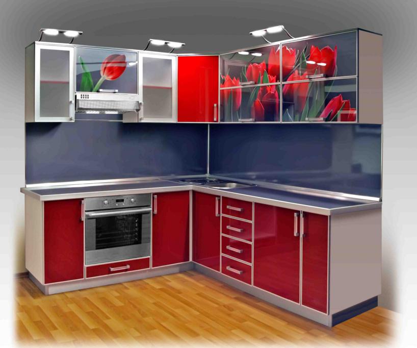 Цветные стекла для фасадной дверцы кухни