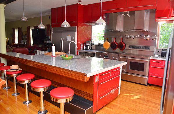 Brilliant-чырвона-кухня-з-стыль сярэдзіны стагоддзя