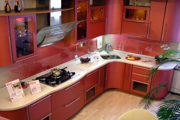 сучасныя кухні-колер-чырвоны колер-10