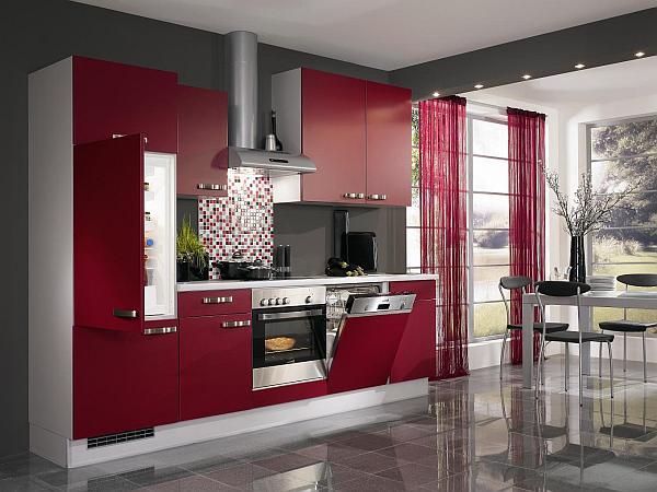 Ультрасучасны-чырвона-кухня-шафы-дызайн