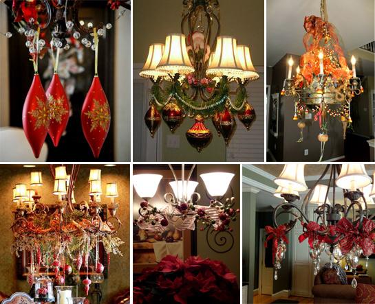 новогоднее украшение люстры