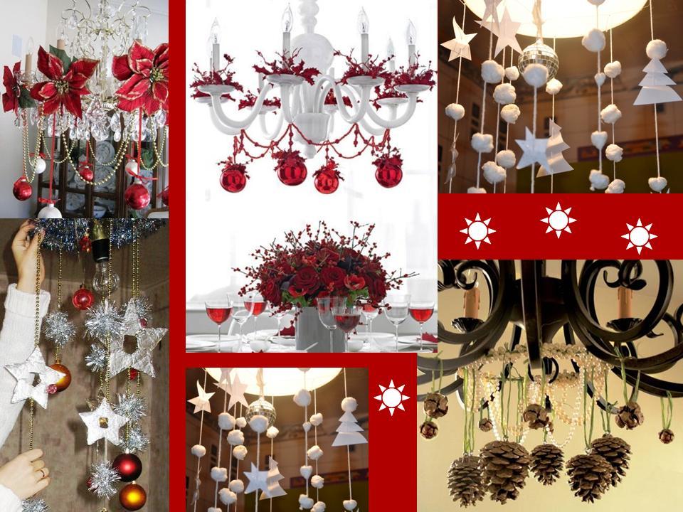 Украшение люстры в новогодний стиль с гирляндами к рождественским праздникам